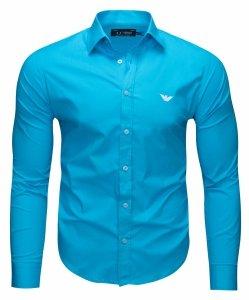 Armani Jeans koszula męska gładka turkusowa