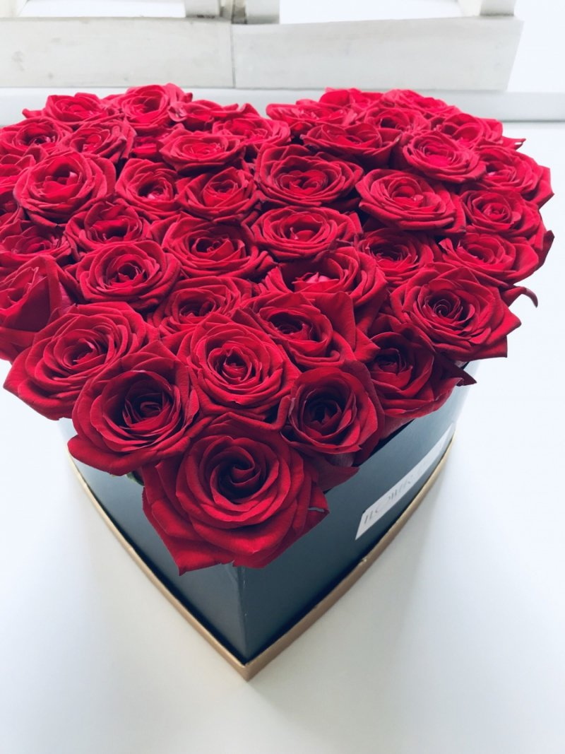 DUŻY XL Box serce + róże świeże, żywe