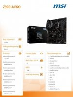 Płyta główna Z390-A PRO s1151 4DDR4 DP/DVI/VGA/M.2/USB 3.1 ATX
