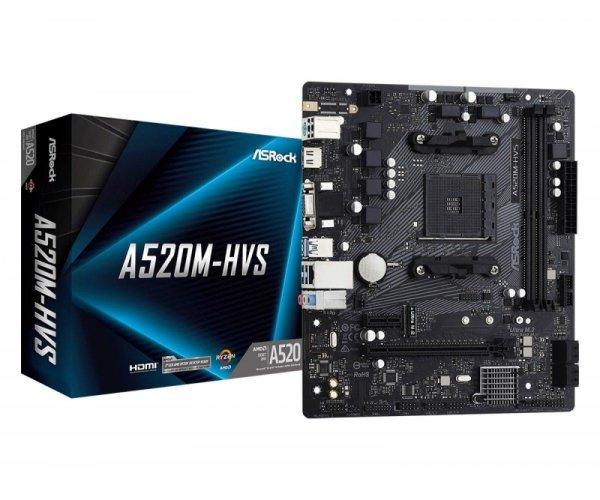 Płyta ASRock A520M-HVS/AMD A520M/DDR4/SATA3/M.2/USB3.1/PCIe3.0/AM4/mATX