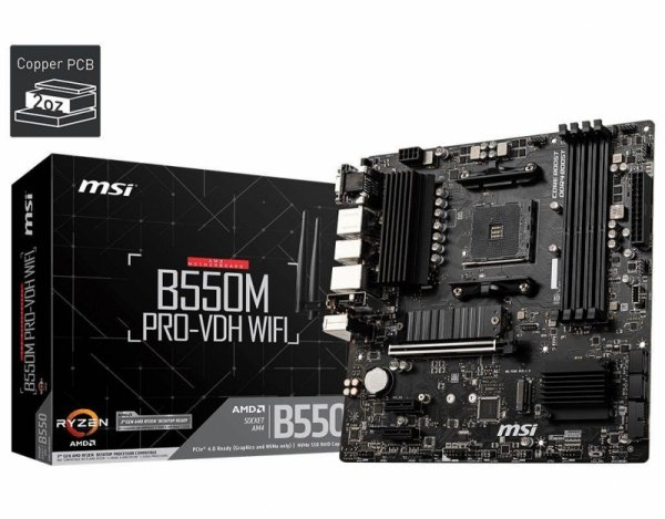 Płyta MSI B550M PRO-VDH WIFI /AMD B550/DDR4/SATA3/M.2/USB3.1/PCIe4.0/Wifi/BT/AM4/mATX