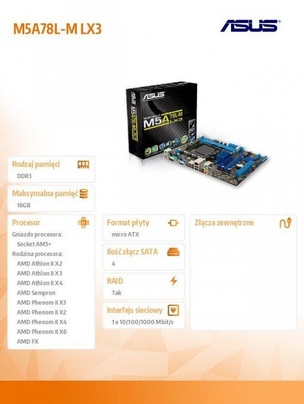 Płyta główna M5A78L-M LX3 AM3+ AMD 760G 2DDR3 RAID/8CH/VGA uATX