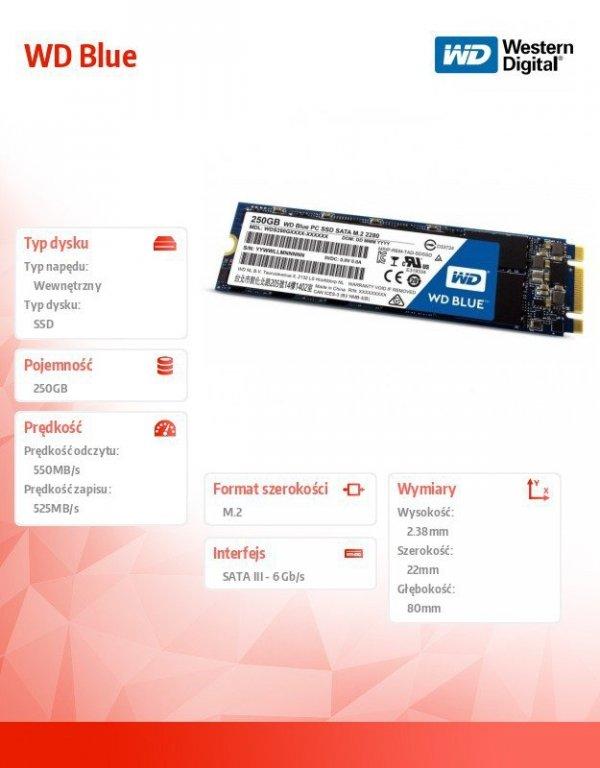 Blue SSD 250GB SATA M.2 2280 WDS250G2B0B