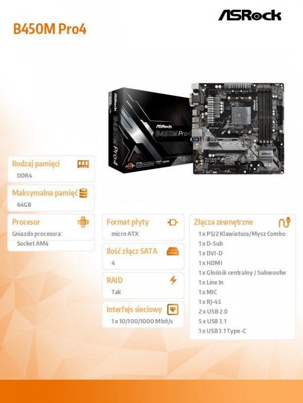 Płyta główna B450M PRO4 AM4 4DDR4 HDMI/VGA/DVI M.2 micro ATX