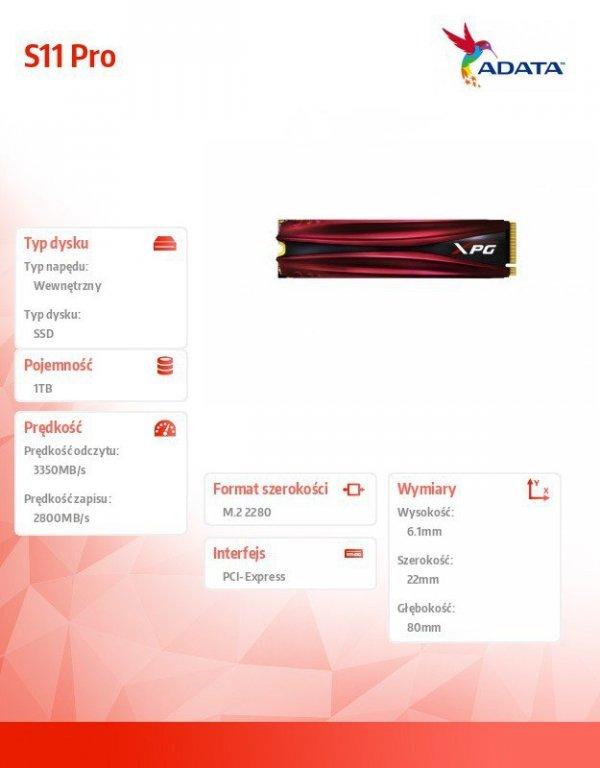 Dysk SSD XPG GAMMIX S11 Pro 1TB PCIe 3x4 3.35/2.8 GB/s M.2