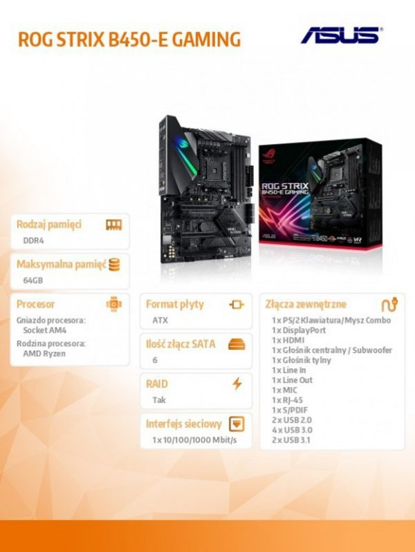 Płyta główna ROG STRIX B450-E GAMING AM4 DDR4 HDMI/DP ATX