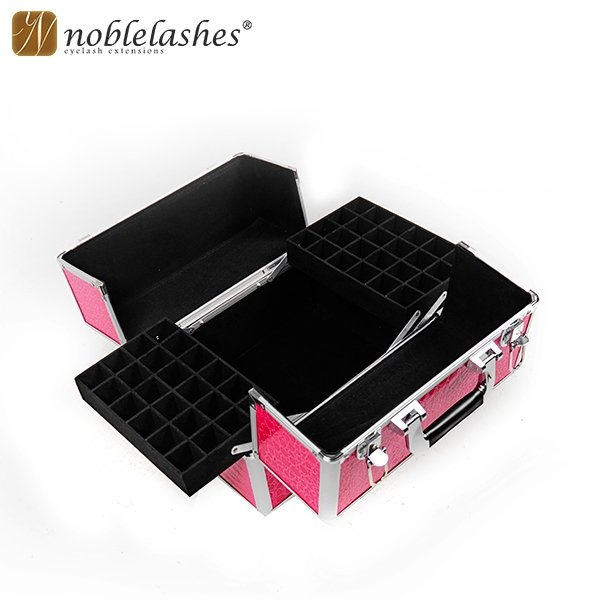 Beauty case rosa con motivo pelle