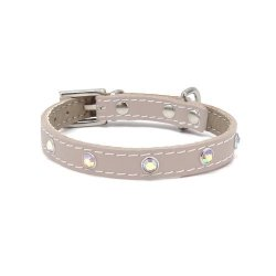 Luxury collar GLAMOR beige with zirconia rainbow