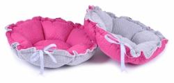 Dwustronne legowisko DAISY różowy pikowany + szary