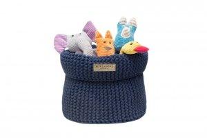 Luksusowy koszyk na zabawki COTTON granatowy