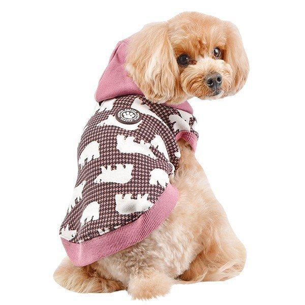 Różowa bluza z kapturem dla psa w uroczy wzór w niedźwiedzie od Puppia.