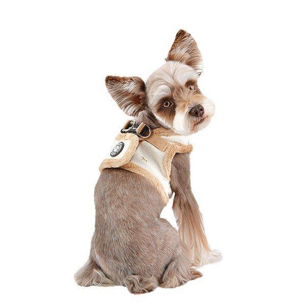 Ocieplane szelki dla psa w kolorze kości słoniowej od Puppia