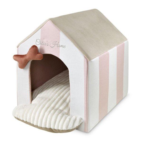 Budka dla psa Monte Carlo w różowo-białe pasy