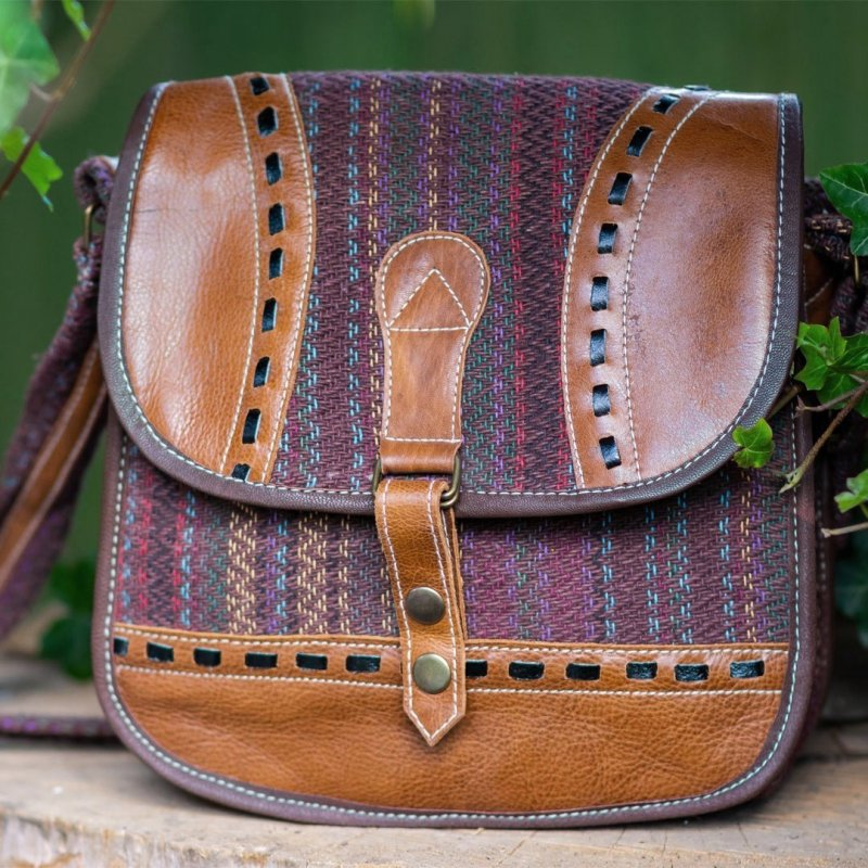 MITRA 1 Cotton and Buffalo Leather Satchel