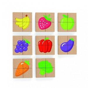 Viga Drewniane Puzzle Magnetyczne Owoce Warzywa Układanka Certyfikat FSC