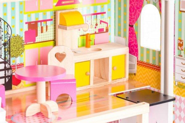 Drewniany domek dla lalek z windą - Rezydencja Malinowa ECOTOYS