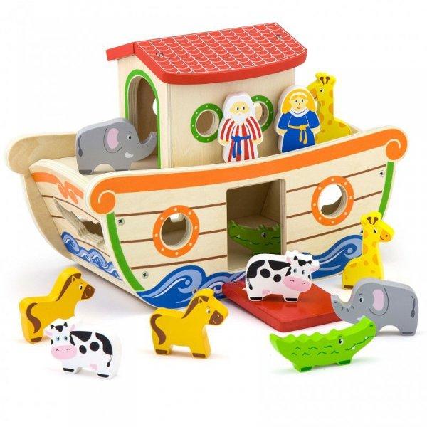 Viga Drewniana Arka Noego z Figurkami zwierząt 13 elementów
