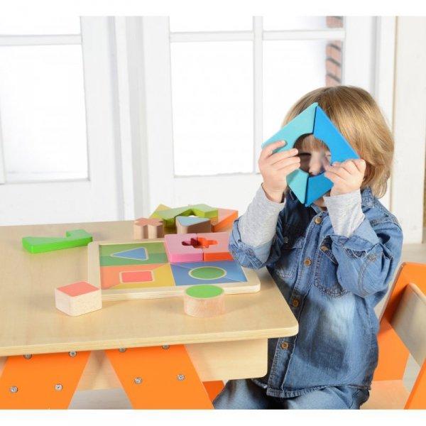 Drewniane Puzzle Geometryczne 12 Elementów Masterkidz