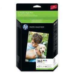 HP oryginalny wkład atramentowy / tusz Q7966EE. No.363. color. 150s. HP Set 6 kazet No.363 + Paper 10 x 15 cm. 150 listů. czarna. mniejsza pojemność. P Q7966EE