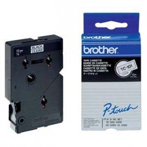 Brother oryginalna taśma do drukarek etykiet. Brother. TC-101. czarny druk/przezroczysty podkład. laminowane. 8m. 12mm TC101
