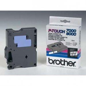 Brother oryginalna taśma do drukarek etykiet. Brother. TX-131. czarny druk/przezroczysty podkład. laminowane. 8m. 12mm TX131