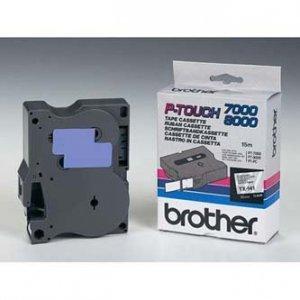 Brother oryginalna taśma do drukarek etykiet. Brother. TX-141. czarny druk/przezroczysty podkład. laminowane. 8m. 18mm TX141