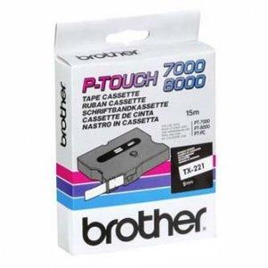 Brother oryginalna taśma do drukarek etykiet. Brother. TX-221. czarny druk/biały podkład. laminowane. 8m. 9mm TX221