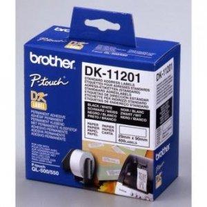 Brother etykiety papierowe 29mm x 90mm. biała. 400 szt.. DK11201. do drukarek typu QL DK11201