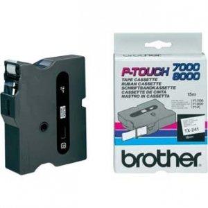 Brother oryginalna taśma do drukarek etykiet. Brother. TX-241. czarny druk/biały podkład. laminowane. 8m. 18mm TX241