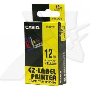 Casio oryginalna taśma do drukarek etykiet. Casio. XR-12YW1. czarny druk/żółty podkład. nielaminowany. 8m. 12mm XR-12YW1