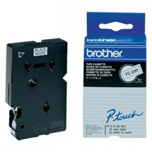 Brother oryginalna taśma do drukarek etykiet. Brother. TC-291. czarny druk/biały podkład. laminowane. 7.7m. 9mm TC291