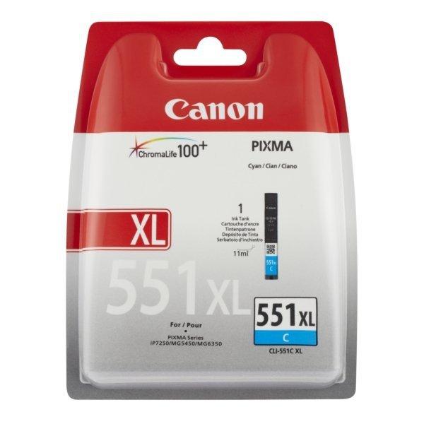 Canon oryginalny wkład atramentowy / tusz CLI551C XL. cyan. 11ml. 6444B004. high capacity. blistr. Canon PIXMA iP7250. MG5450. MG6350 6444B004