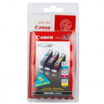 Canon oryginalny wkład atramentowy / tusz CLI521. cyan/magenta/yellow. 3x9ml. 2934B010. 2934B007. blistr. Canon iP3600. iP4600. MP620. MP630. MP980 2934B010