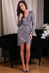 Sukienka 0265 Szara Roco Fashion