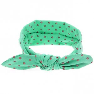 1 kIDS opaska na głowę pin up dla niemowląt zielona w groszki
