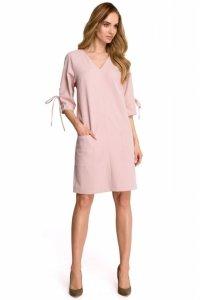 S111 Sukienka z kieszeniami - puder