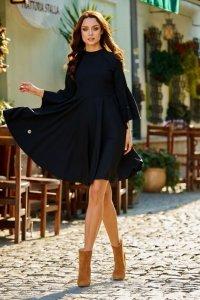 Zjawiskowa sukienka z rozszerzanymi rękawami L277 czarny