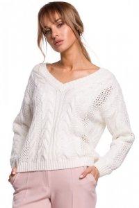 M510 Ażurowy sweter z dekoltem w serek - ecru