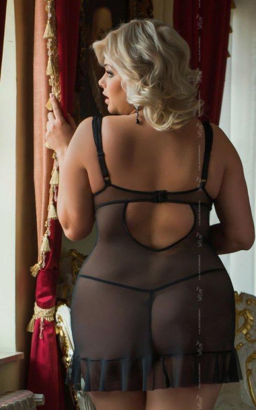 Bianca 1818 - Plus Size - black koszulka i stringi
