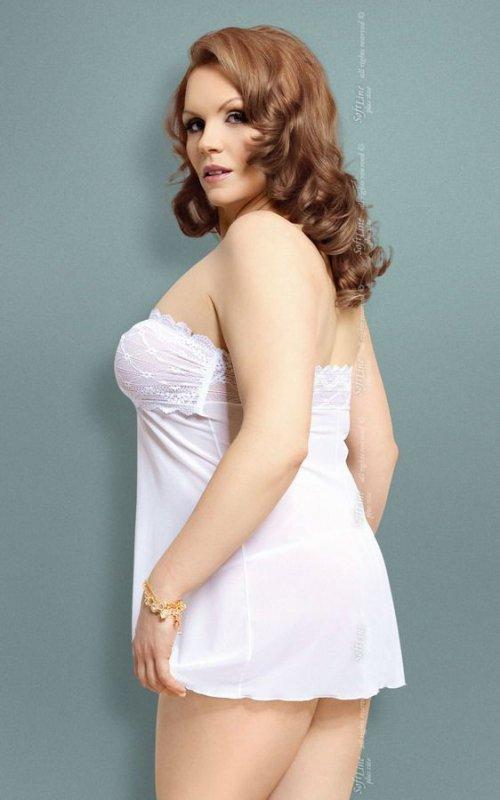 xTanya - Plus Size - white 1741 koszulka i stringi