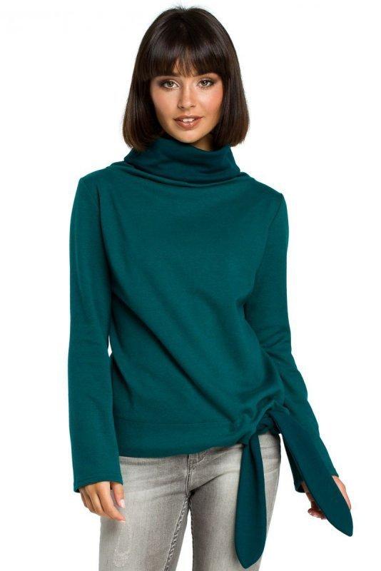 B085 Bluza z wiązaniem na boku zielona