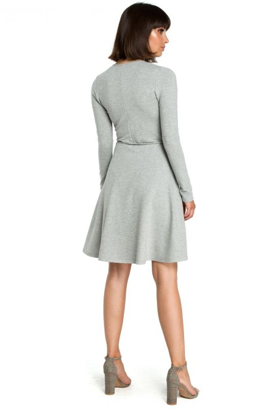B092 Rozkloszowana sukienka z górą na zakładkę - szara