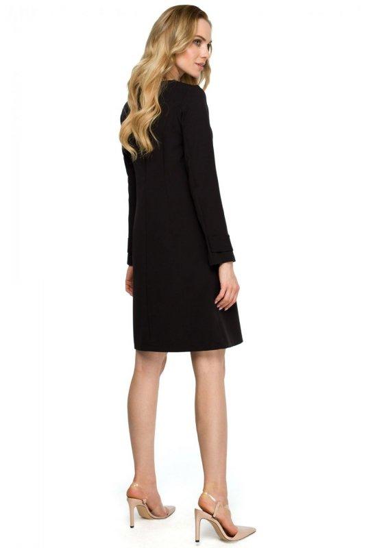 S117 Sukienka trapezowa - czarna