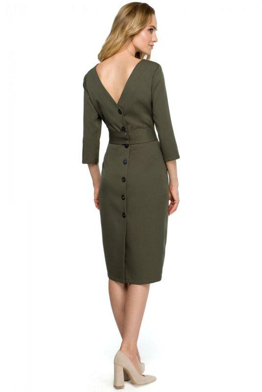 S119 Sukienka ołówkowa z guzikami z tyłu - khaki