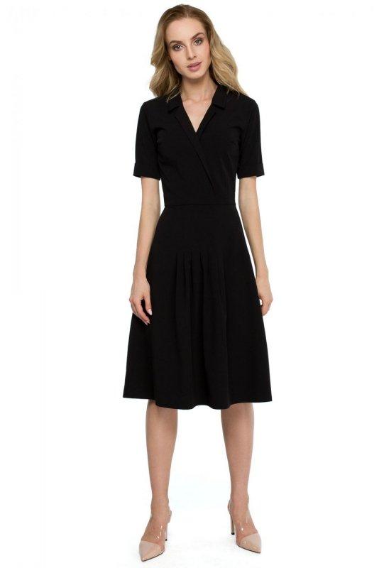 S122 Sukienka midi z kołnierzem - czarna