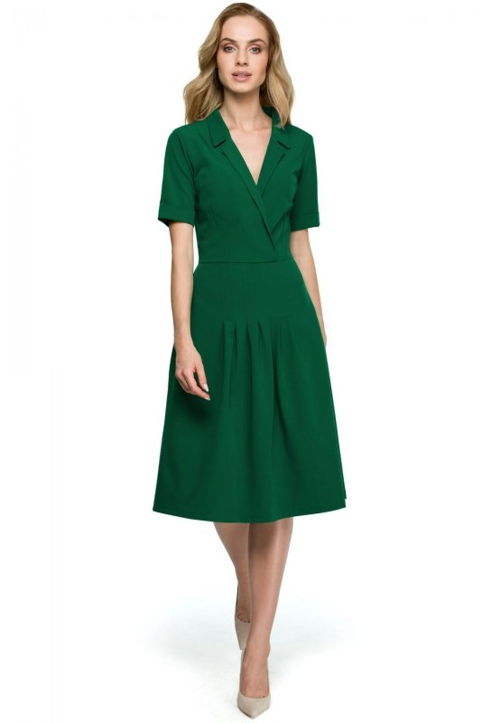 S122 Sukienka midi z kołnierzem - zielona