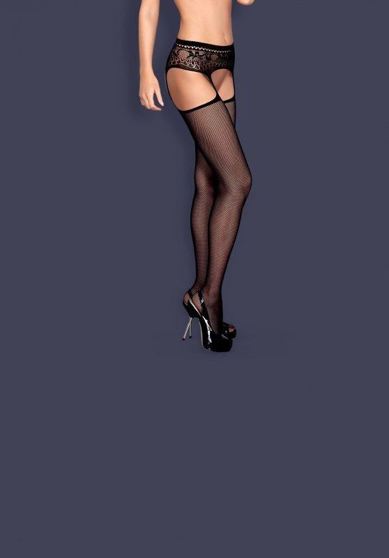 Garter stockings S307 czarne XL/XXL