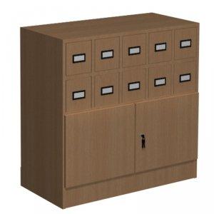 Szafka katalogowa biblioteczna, typ B, 10 szuflad