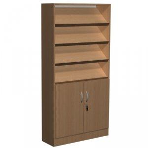 Regał biblioteczny skośne półki , schowki , szafka F