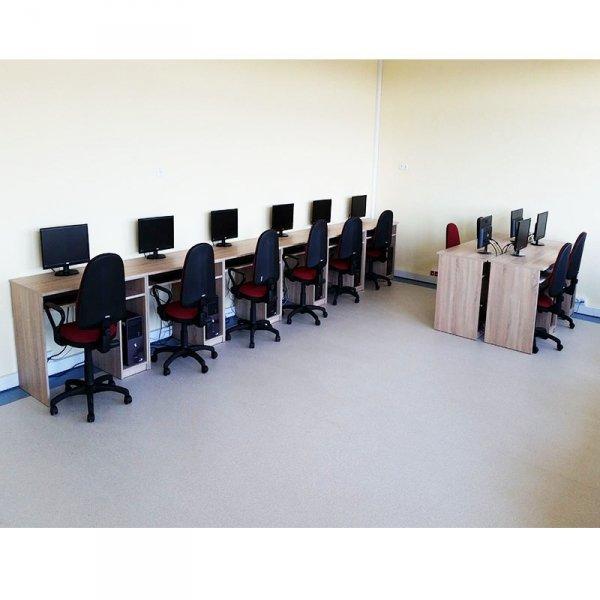 biurko komputerowe 1-osobowe, biurko do pracowni komputerowej, biurko do sali komputerowej, biurko komputerowe, biurko komputerowe z ruchomą półką